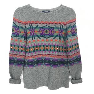 Chaps Cololrful Heather Gray Knit Sweater Small